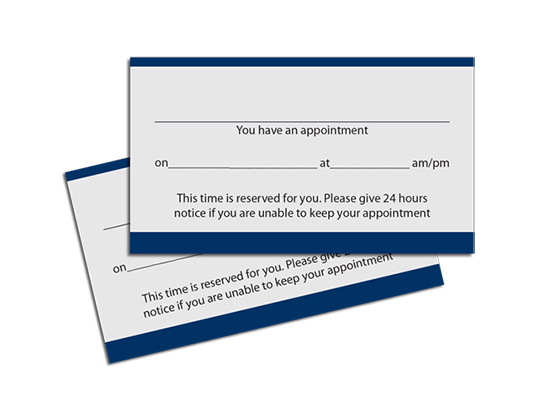 appointment cards custom printing